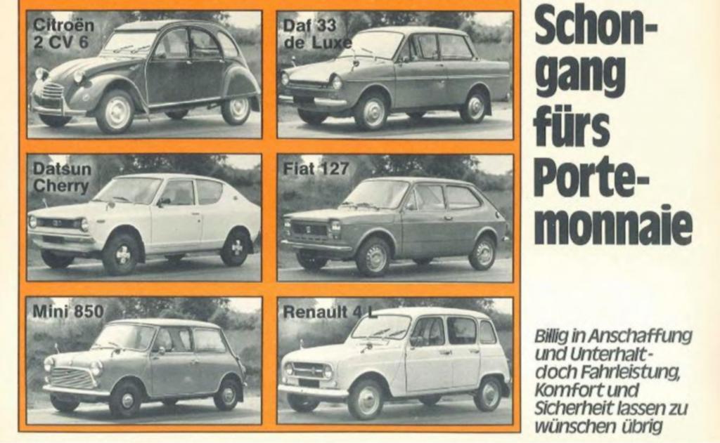 1974 prüften die Experten von Stiftung Warentest Kleinwagen, die heute Klassiker sind