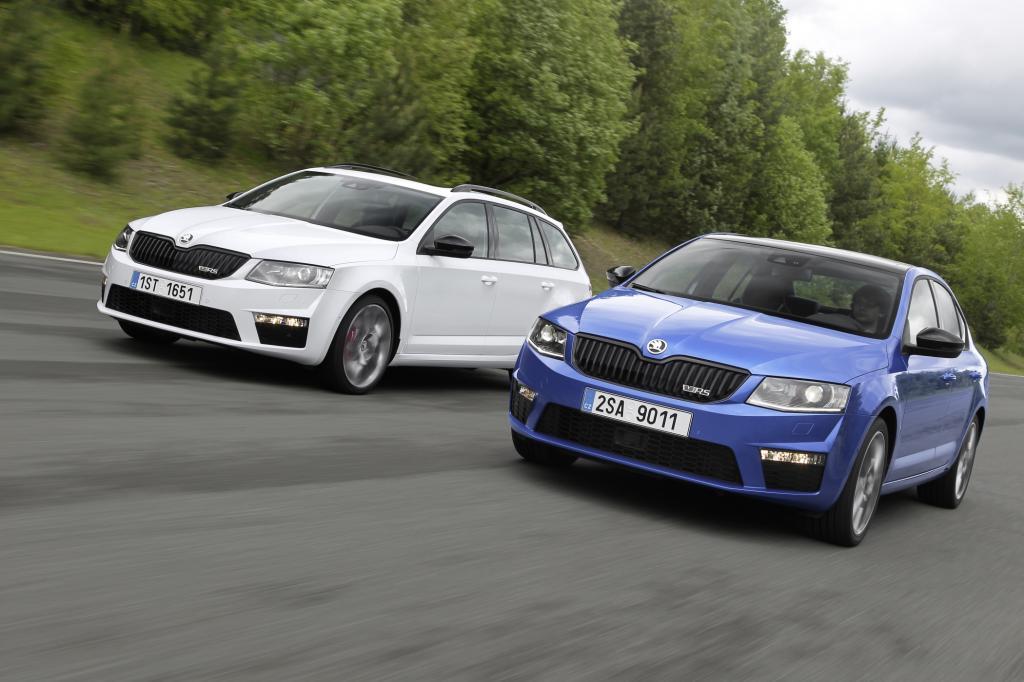 Der Octavia läuft auch als RS in zwei Formen vom Band – als Limousine und als Kombi