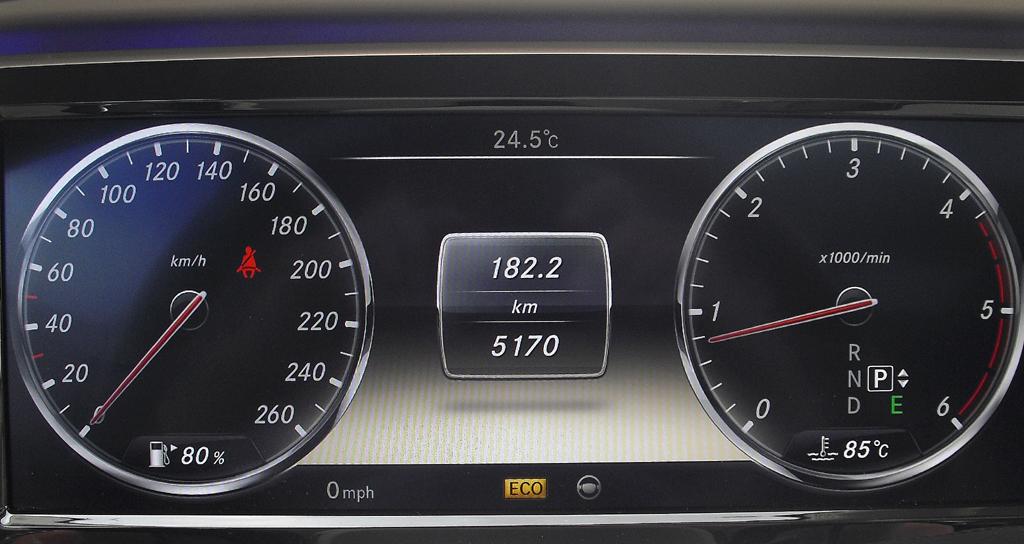Mercedes S-Klasse: Blick durch den Lenkradkranz auf die Rundinstrumentierung.