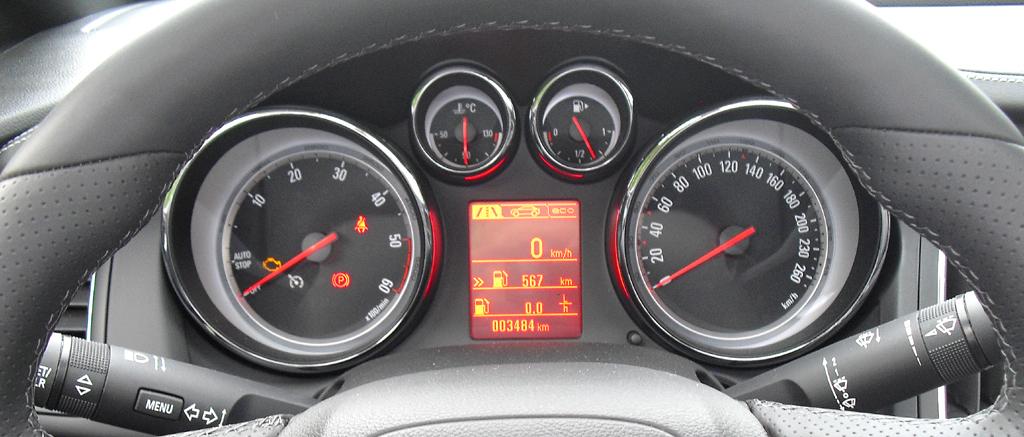 Opel Cascada: Blick durch den Lenkradkranz auf die Rundinstrumentierung.