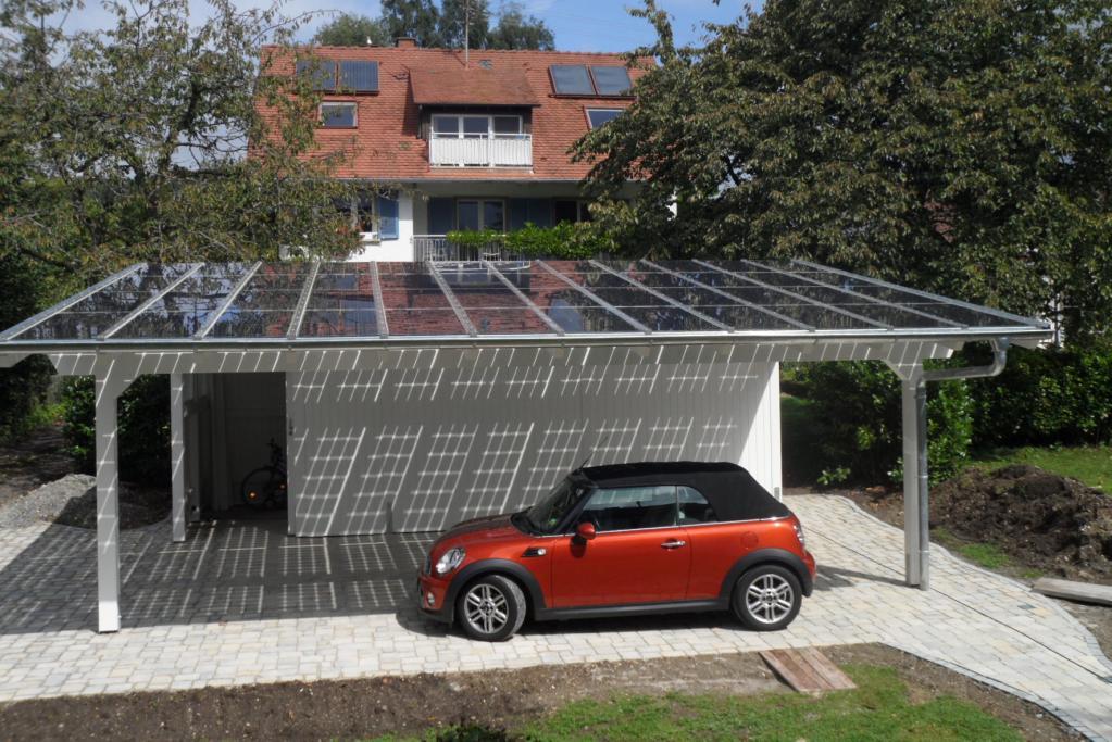 Carport liefert Strom für Auto und Haus