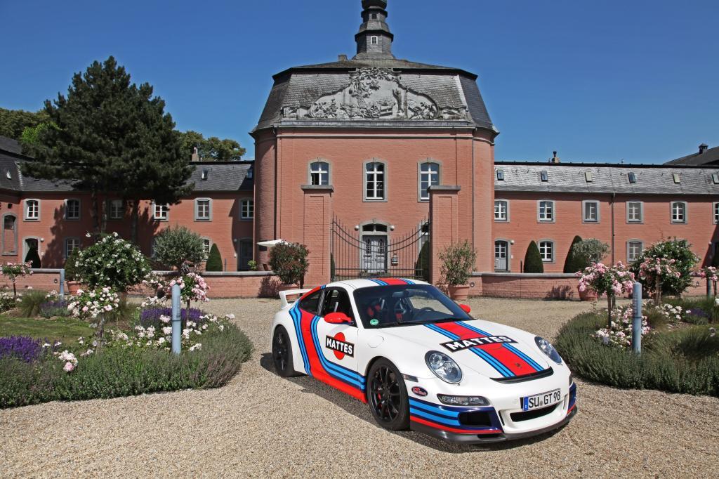 Porsche 997 GT3 im Martini-Look - Hier individualisiert mit dem Vornamen des Besitzers.