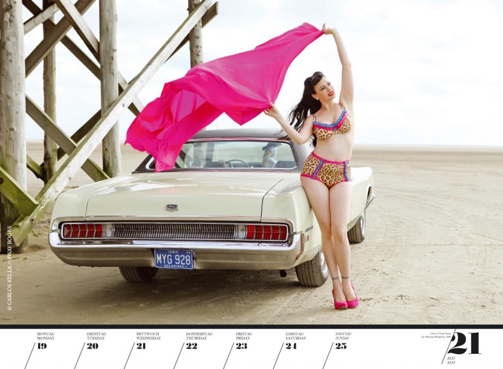 Verchromter Voyeurismus - Girls & Legendary Us-Cars Wochenkalender 2014