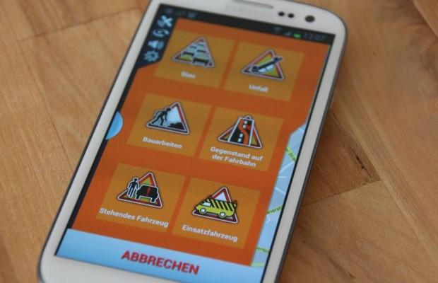 Verkehrsinfo-App zeigt