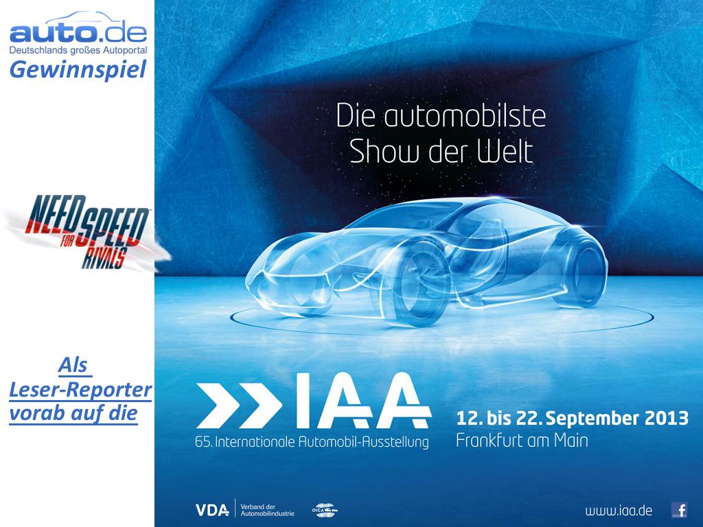 auto.de-Gewinnspiel: Als Leser-Reporter vor allen anderen auf die IAA