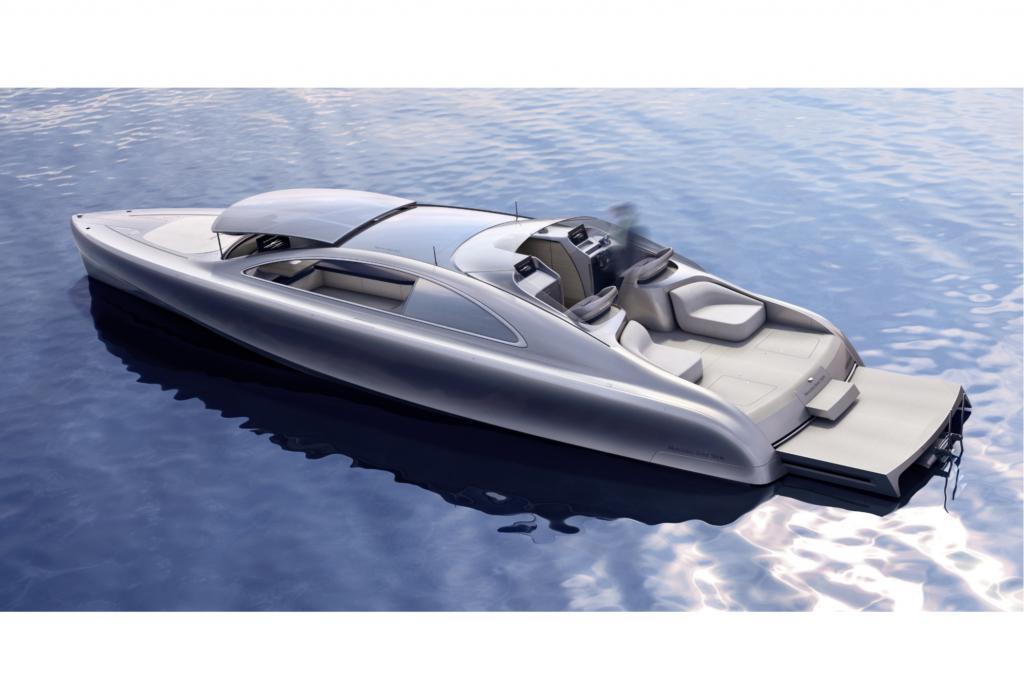 Auf der Monaco Yacht Show zeigte Mercedes-Benz Style nach dem erfolgreichen Start eines Hubschraubers das endgültige Design eines luxuriösen Motorboots im Stil der Oberklasse.