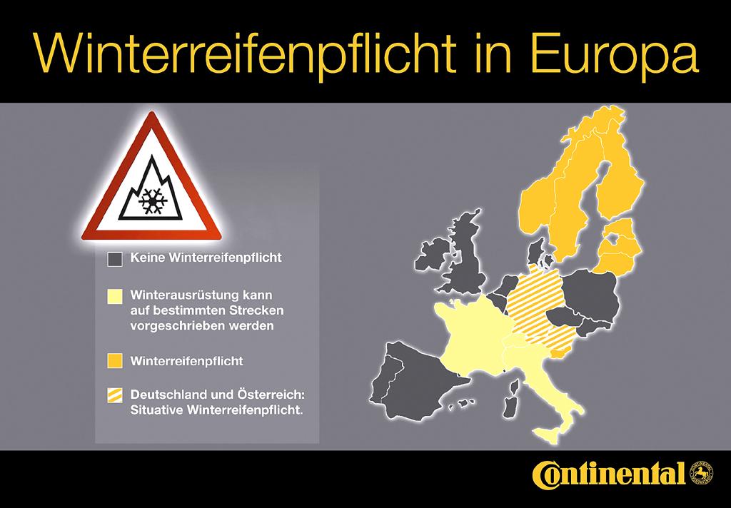 In Deutschland und Österreich herrscht eine situative Winterreifenpflicht vor.