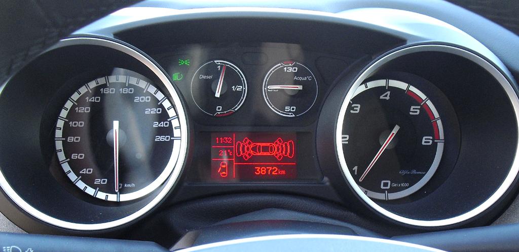Alfa Romeo Giulietta: Blick durch den Lenkradkranz auf die Rundinstrumentierung.