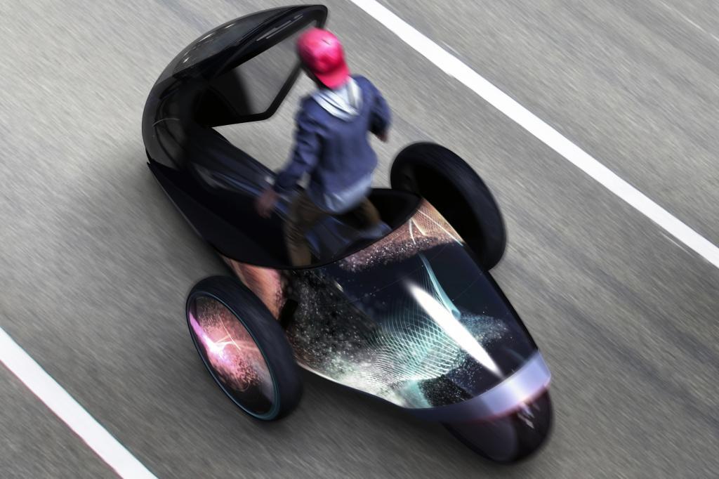 Das Gefährt hat kein Lenkrad, der Fahrer steuert es mit Körperbewegungen, indem er sich beispielsweise nach links oder rechts lehnt