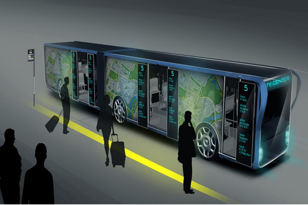 Futuristischer Linienbus - Rollender Riesen-Bildschirm