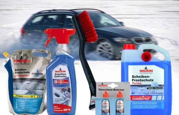 auto.de-Weihnachtsgewinnspiel: NIGRIN Winterpflegepaket mit Scheiben-Frostschutz, Schneebesen, Scheibenentfroster und Türschlossenteiser