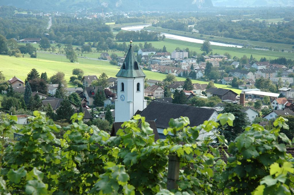 Blick über die Liechtensteiner Walsergemeinde Triesenberg ins Rheintal.