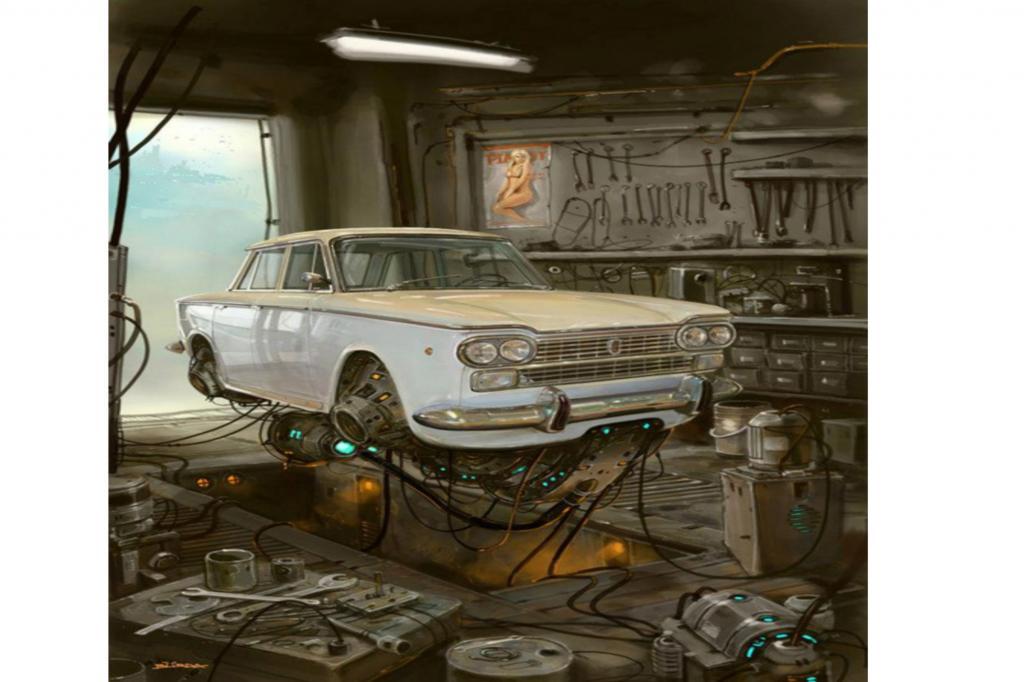 Repariert werden die Fahrzeuge übrigens auch in der Luft, während die Wände der Werkstatt ganz klischeehaft mit Postern nackter Frauen tapeziert sind.
