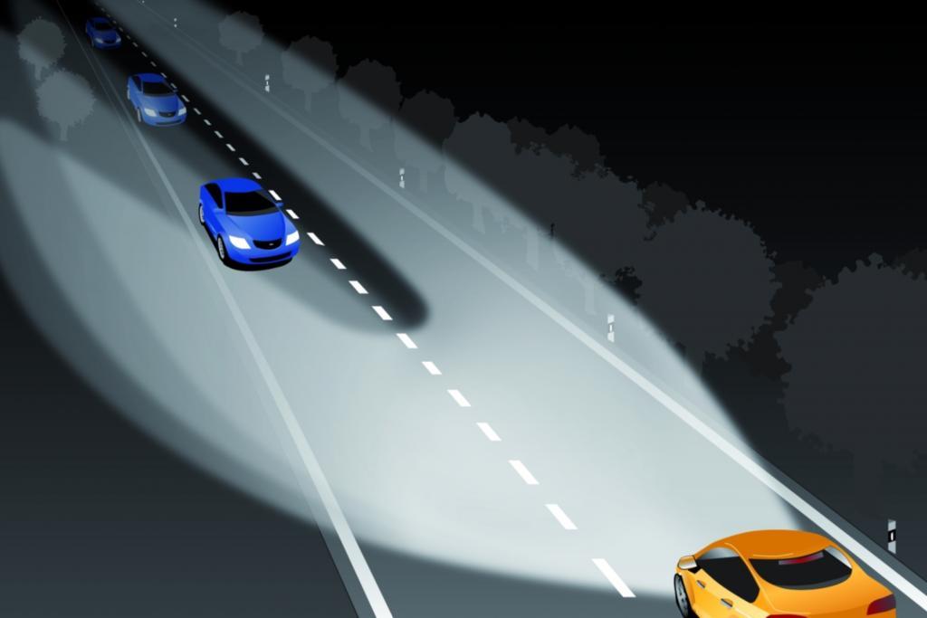 Blendfreies Fernlicht bei Gegenverkehr