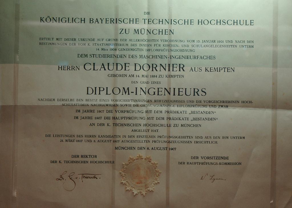 Dorniers Diplom-Ingenieurs-Urkunde aus dem Jahr 1907.