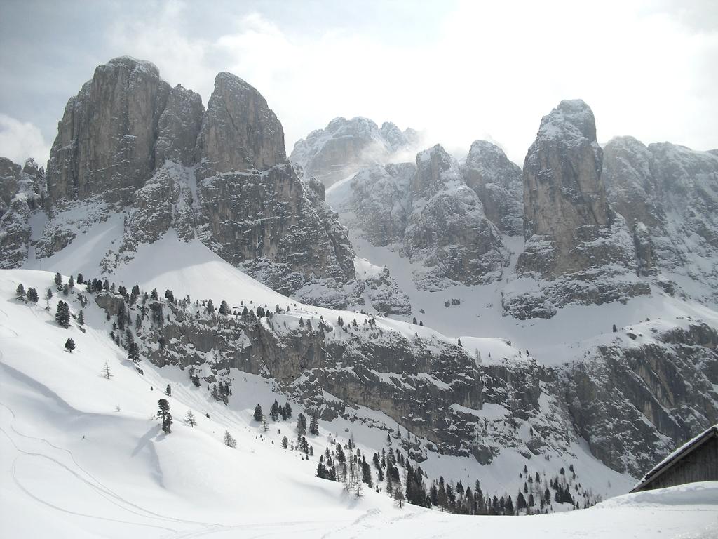 Imposant: Dolomiten-Massiv bei Wolkenstein.