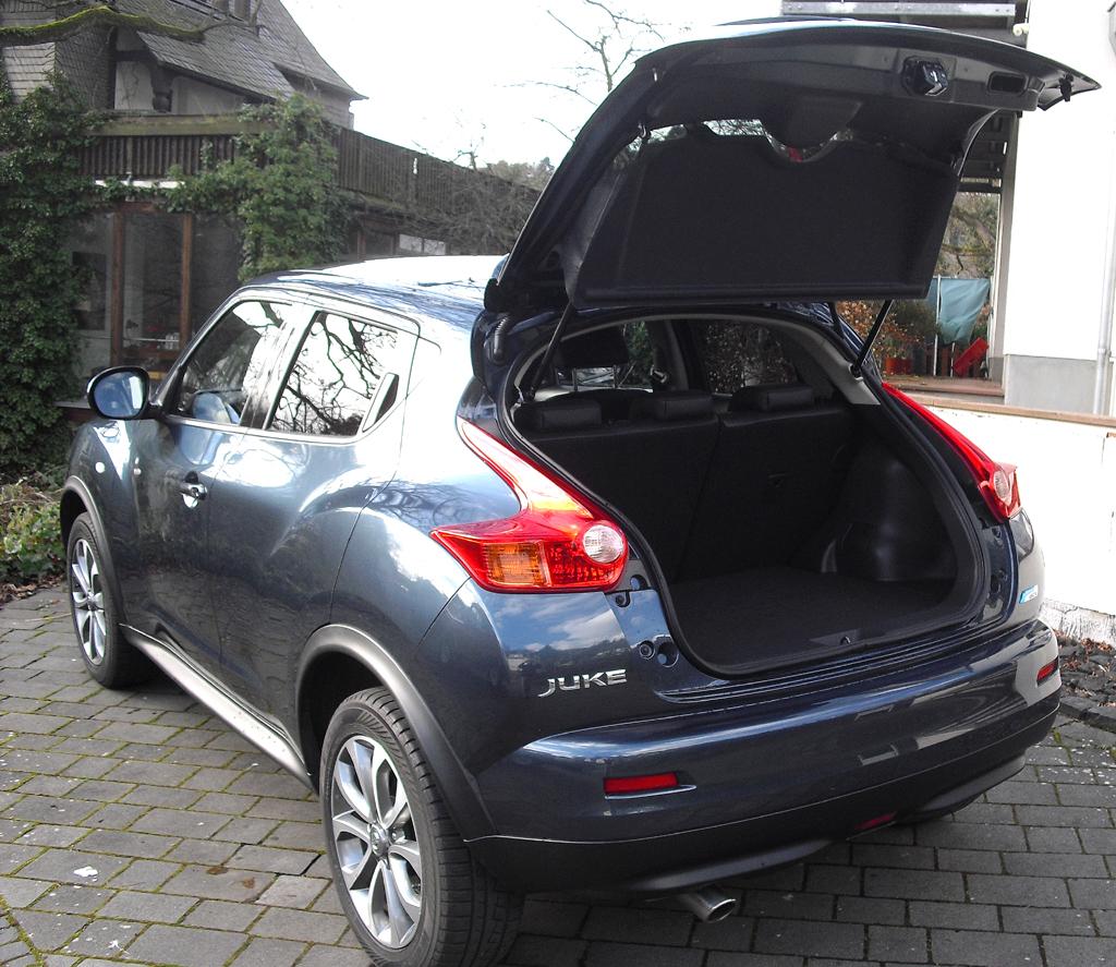 Nissan Juke: Das Gepäckabteil fasst 251 bis 830 Liter.