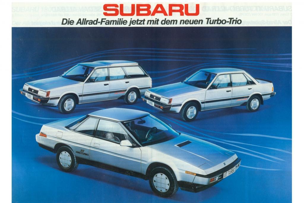 Subaru Allrad-Familie mit Subaru XTT Turbo im Vordergrund ab 1986
