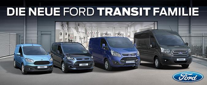Die Neue Ford Transit Familie: (von rechts nach links): Ford Transit, Ford Transit Custom, Ford Transit Connect, Ford Transit Courier - Foto: Ford