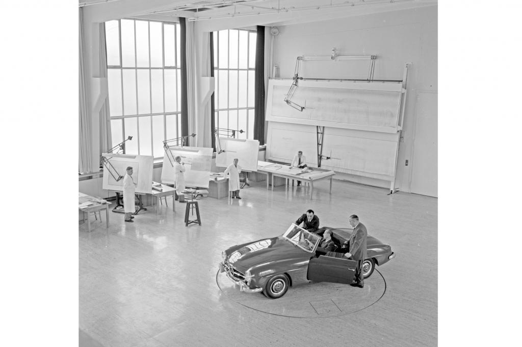 Mercedes Benz 190 SL im Konstruktionsbüro der Form-Entwicklungsabteilung