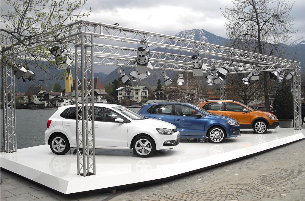 VW Polo, links die Neuauflage, daneben Blue GT und CrossPolo.