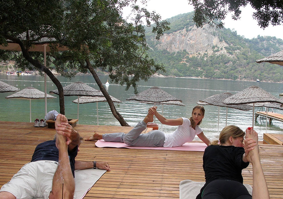 Wer will, kann sogar an Yoga-Unterreicht teilnehmen.