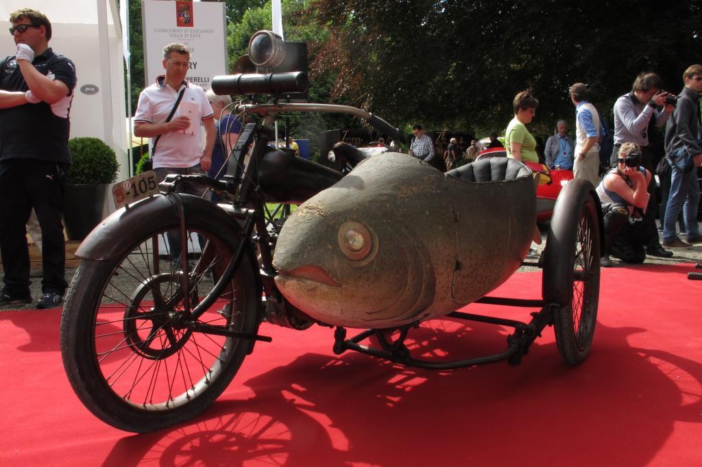 """1922 entstand dieses Unikum mit einem Seitenwagen in Fischform: Die Beardmore Precision """"Fish"""" stammt aus England und befindet sich heute in einem Seitenwagenmuseum in Italien"""