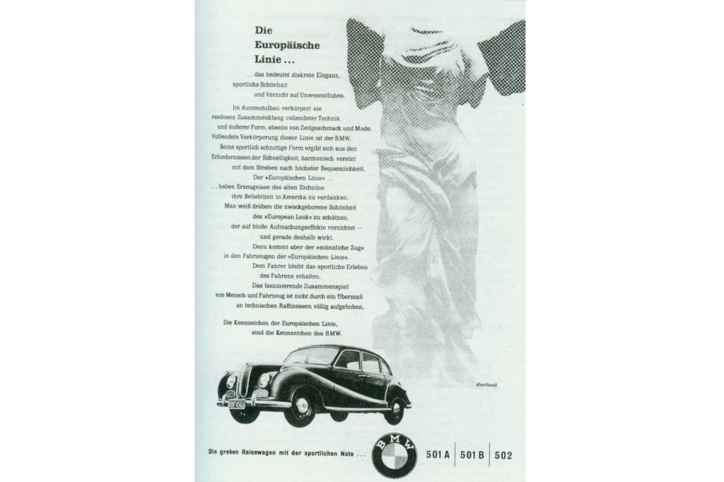 BMW 501 und 502 V8 Werbung 1954