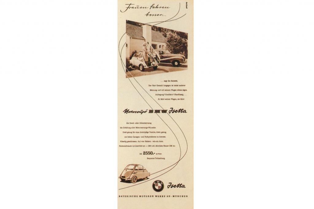 BMW V8 Limousine mit BMW Isetta Werbung 1955