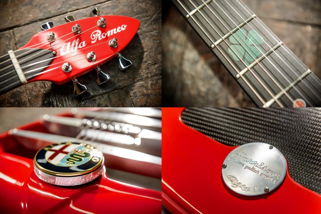Die Form der Gitarre orientiert sich am typisch dreieckigen Kühlergrill der italienischen Fahrzeuge.