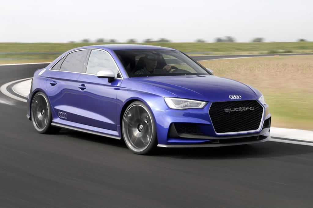 """Einen A3 mit irrwitzigen 525 PS. """"Clubsport Concept"""" heißt die in magnetic-blue lackierte Studie, die Autos wie den CLA 45 AMG von Mercedes oder den M 235i von BMW das Fürchten lehren soll."""