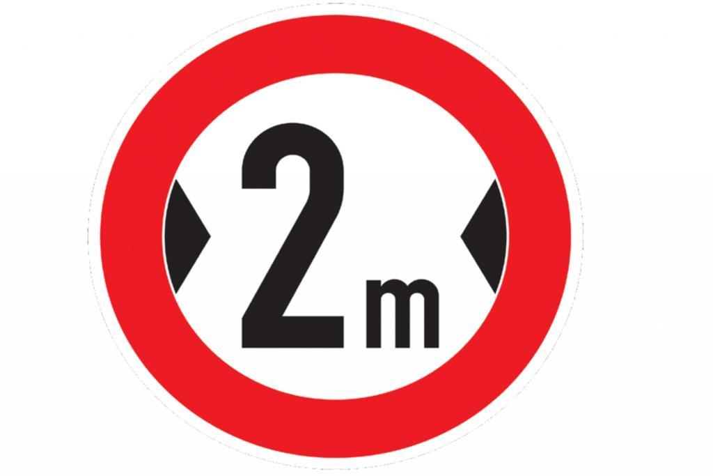 Angezeigt wird die Zwei-Meter-Begrenzung mit einem rot umrandeten Verkehrszeichen. (Verkehrszeichen 264)