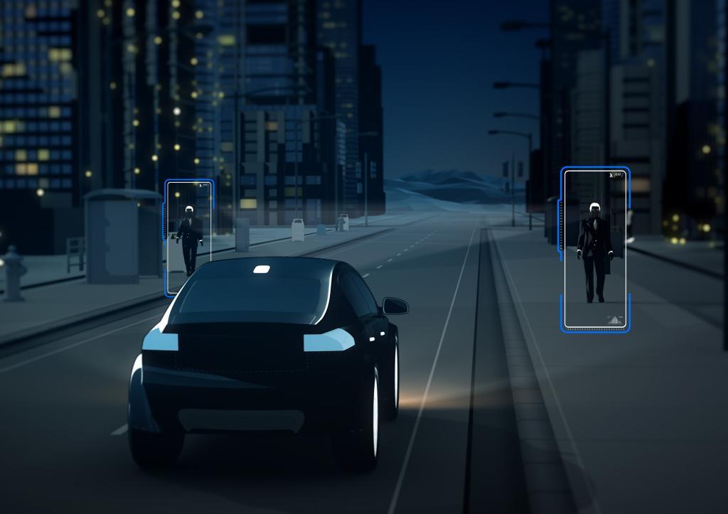 """Das bekannte Notbremssystem """"City Safety"""", das zur Serienausstattung des XC90 gehören wird, erkennt Fahrzeuge, Fahrradfahrer und Fußgänger, die sich vor dem Fahrzeug befinden, dank einer weiter entwickelten Kamera erstmals auch bei Nacht."""
