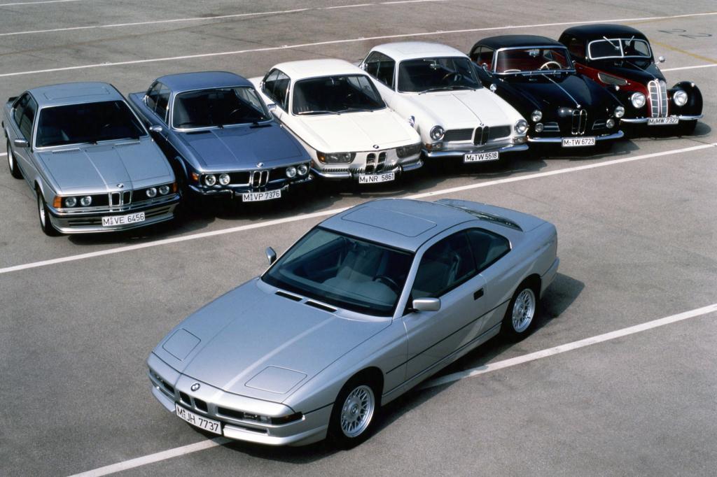 Von Links nach Rechts: BMW 6er, CS, 2000 CS, 3200 CS, 503, 327 davor 850i