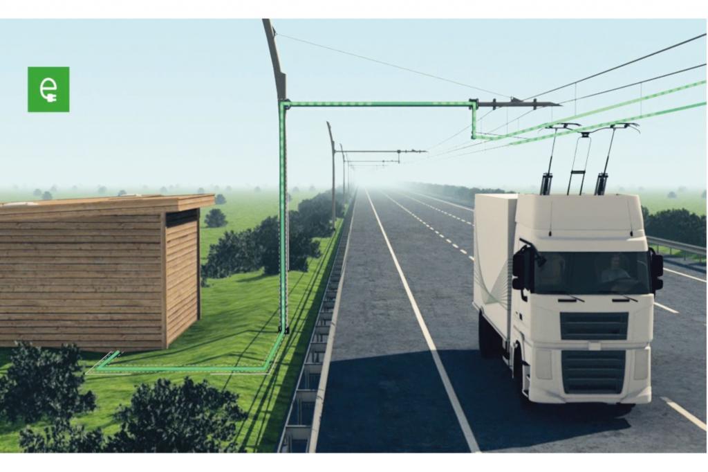 In den USA arbeitet Siemens an einer Autobahnstrecke, auf der Lkw ausschließlich mit Strom angetrieben werden. Dieser soll aus Oberleitungen auf die Fahrzeuge übertragen werden, ähnlich wie bei Straßenbahnen