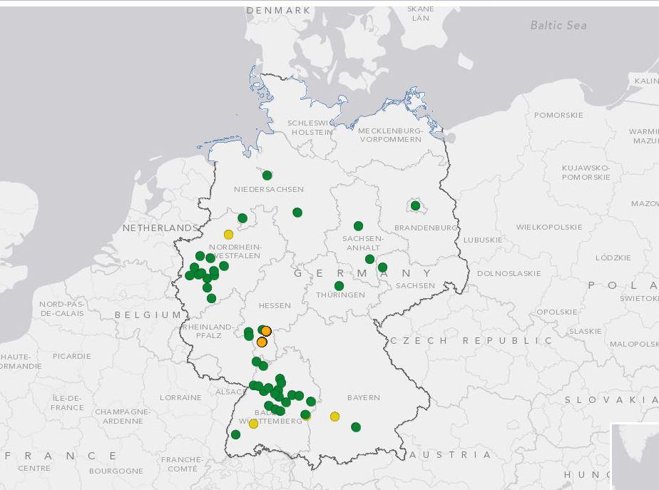 Verteilung von Umweltzonen in Deutschland nach einer Karte des Umweltbundesamtes