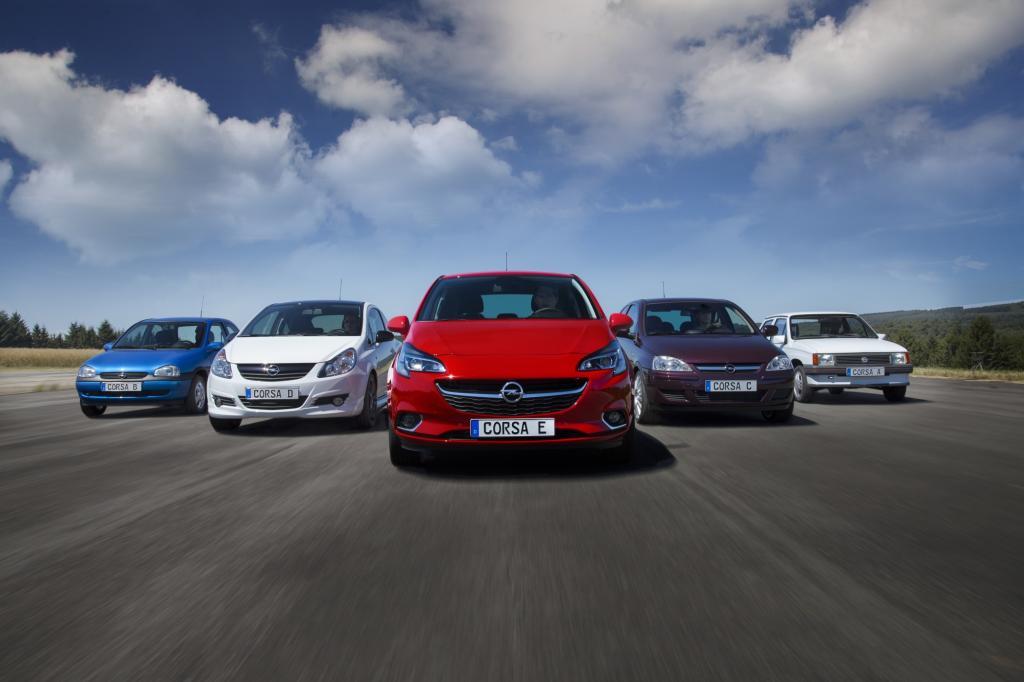 Opel Corsa Fünf Generationen von links nach rechts