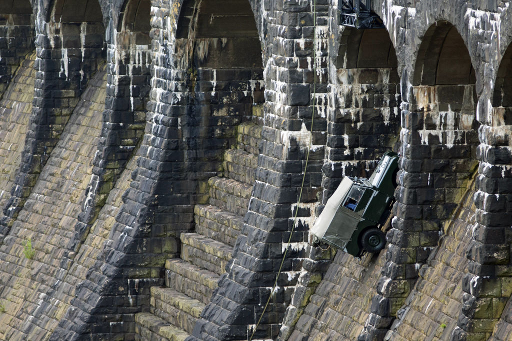 Picture Shows: The Land Rover Series 1 winching itself up Claerwen Dam, Wales