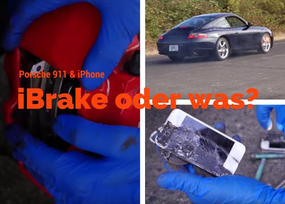 Wie bremst ein Porsche, der statt Bremsbeläge 8 iPhones verbaut hat?