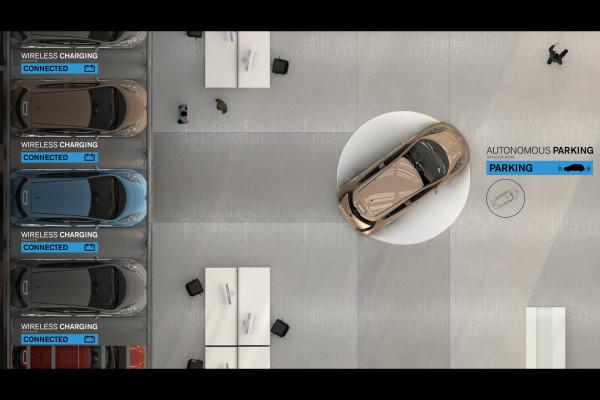 Sieht so die Tankstelle der Zukunft aus? Elektroautos suchen sich selbstständig einen freien Parkplatz und machen diesen dann nach dem Aufladen wieder vollautomatisch frei.