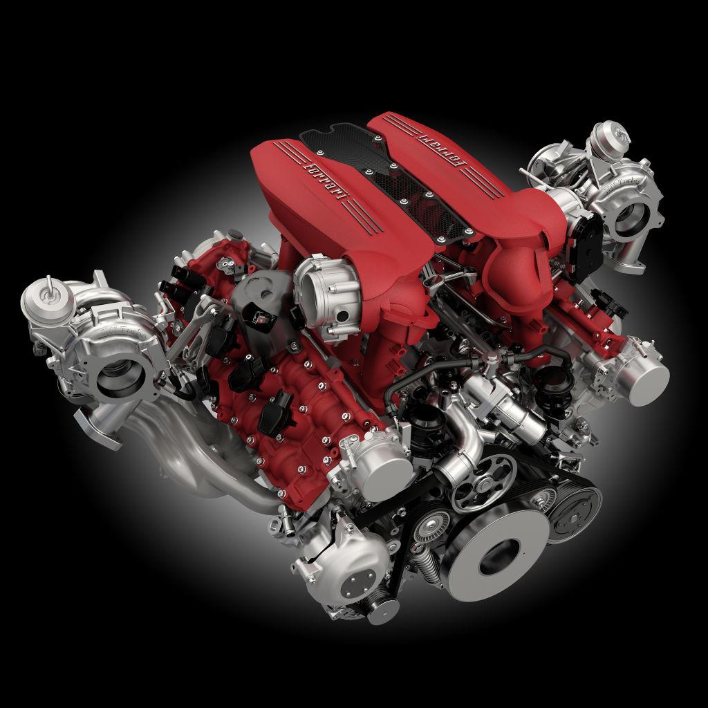 Motor des Ferrari 488 GTB.