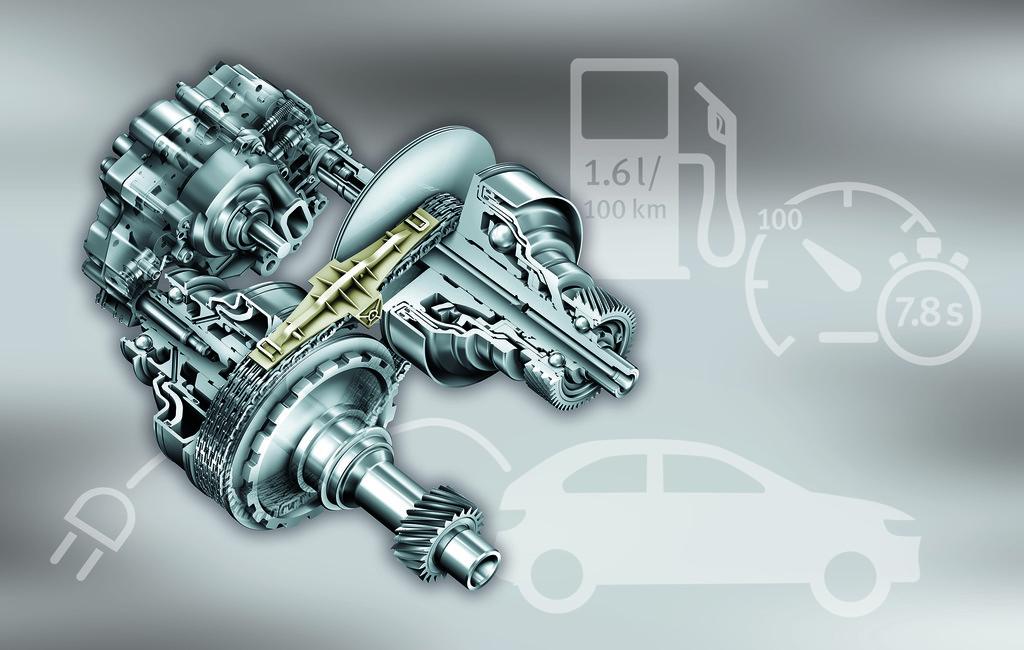 Der von der Schaeffler-Marke LuK entwickelte Variator mit Scheibensätzen, Kette, Gleitschiene sowie hydraulischer Steuerung, der seit 16 Jahren bei Audi eingesetzt wird, könnte die Basis für ein Plug-in-Hybrid-CVT-Getriebe sein
