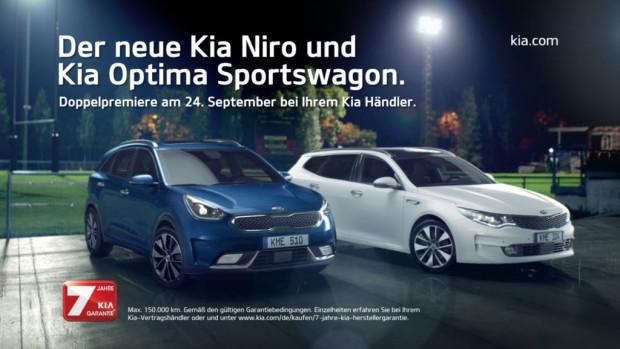 Feiern ihre Markteinführung: Kia Niro und Optima Sportswagon.