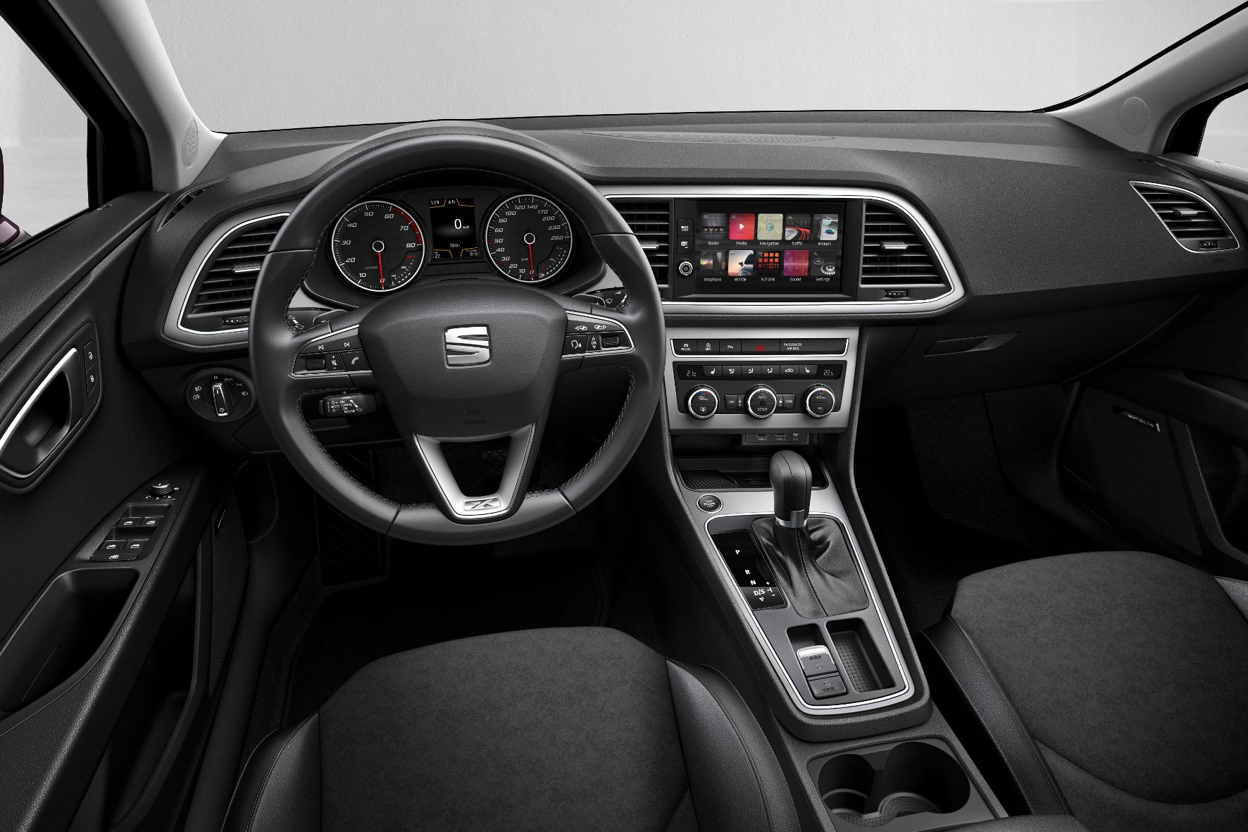 Hübsch anzusehen, übersichtlich und gut verarbeitet: das Cockpit des Seat Leon.