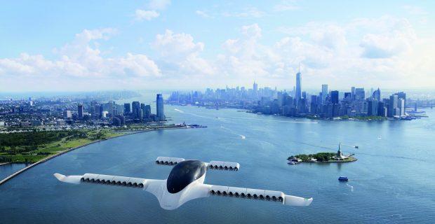 Noch eine Zukunftvision: der Lilium Jet vor der Skyline von New York.