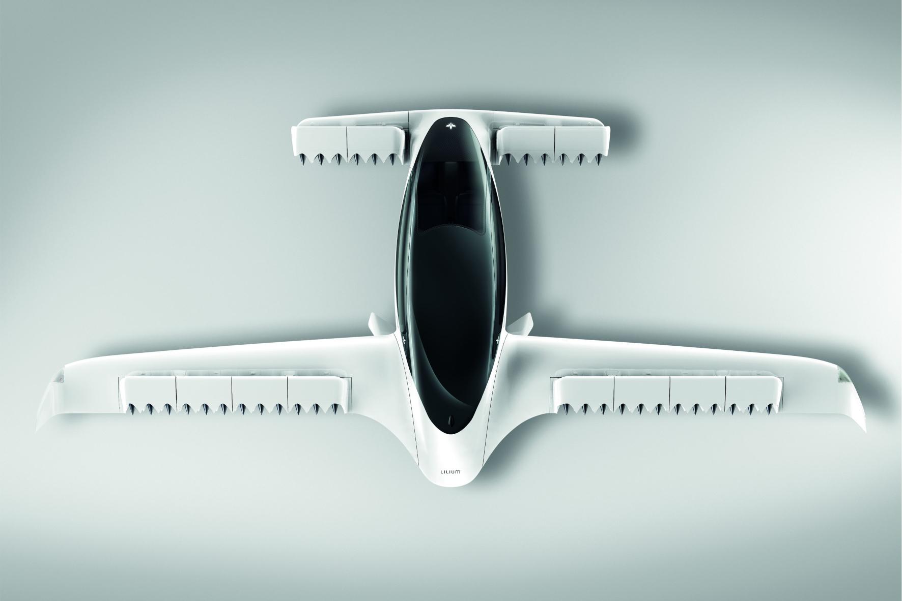 Ungewöhnliche Proportionen: Der Lilium Jet kommt ohne Heck- und Seitenruder und ohne Propeller aus.