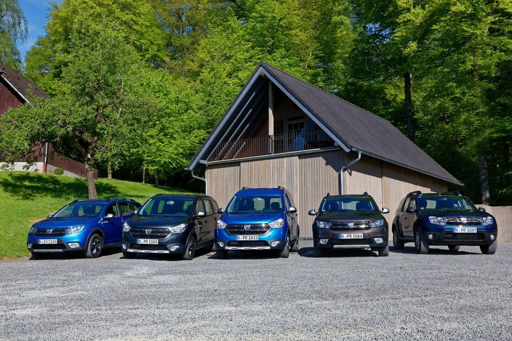 Die Dacia-Modellpalette 2017: Logan MCV Stepway, Lodgy Stepway, Dokker Stepway, Sandero Stepway und Duster.