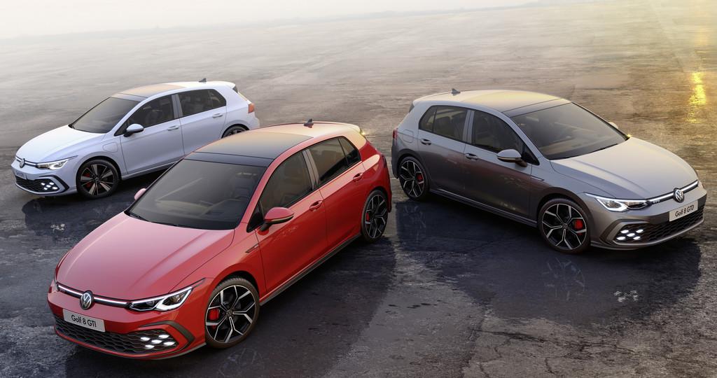 VW Golf GTE, GTI und GTD (von links).