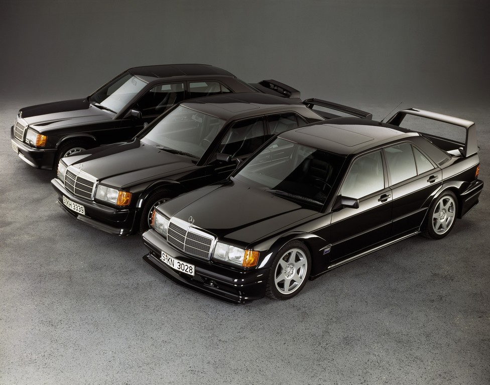 Evolution (von links): Mercedes-Benz 190 E 2.3-16, 190 E 2.5-16 Evolution II und 190 E 2.5-16 Evolution II.