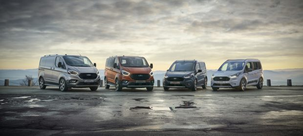 Ford Transit Custom Active, Tourneo Custom Active, Transit Connect Active und Tourneo Connect Active.